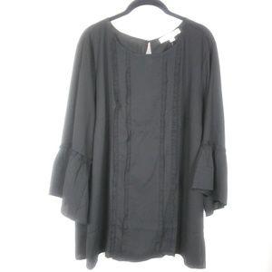 LOFT plus black bell sleeve blouse size 18 nwt
